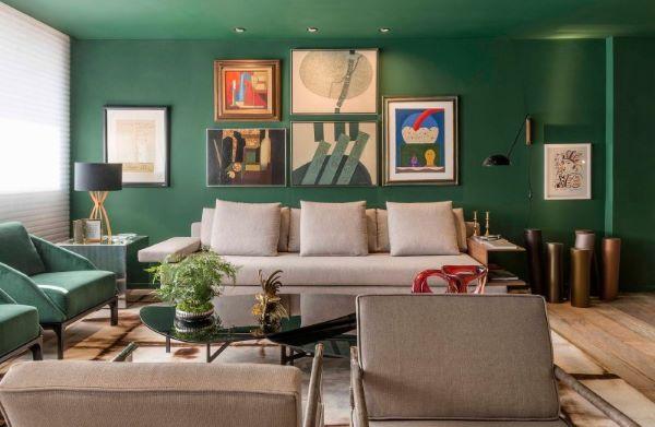 Pinturas de casas em tons de verde
