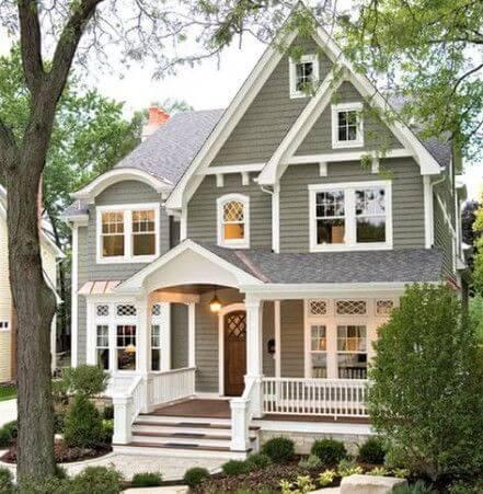 Pinturas de casas cinza e branca