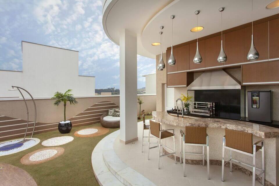 piso para varanda - área gourmet com balcão curvo