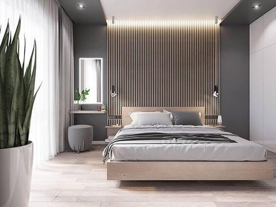 Os pisos para quarto claro são ótimos para decoração neutra - Por: Behance