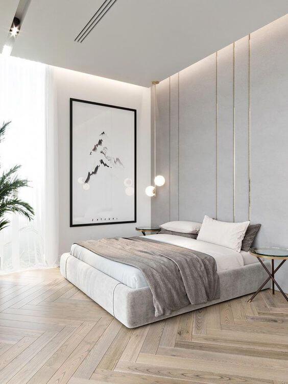 quarto moderno também pode usar os pisos para quarto de madeira