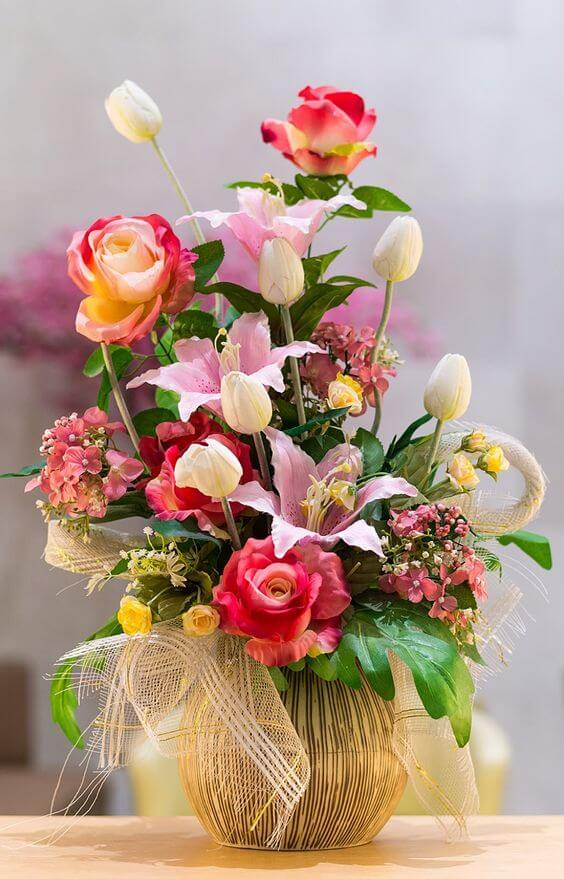 plantas artificiais para decoração - arranjo de flores coloridas