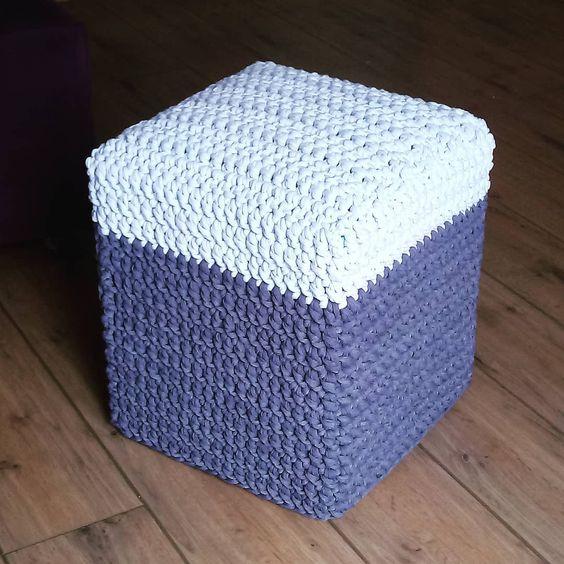 puff quadrado - puff com capa em crochê