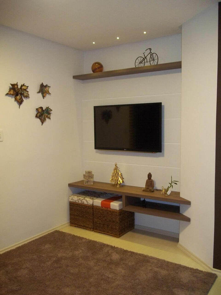 puff quadrado - sala de estar com puff