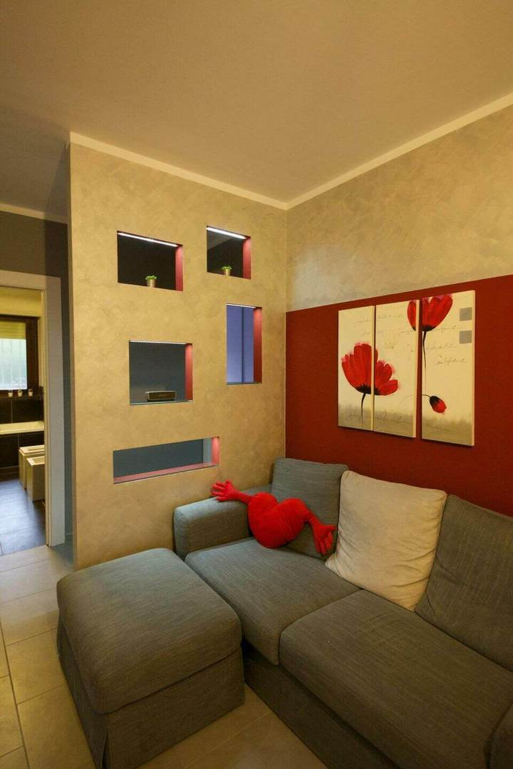 puff quadrado - sala de estar com sofá cinza e puff