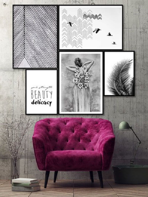 quadros decorativos com moldura preta simples Foto Ammo Quadros