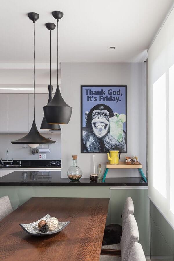 quadros decorativos para cozinha com pendentes pretos Foto Wood Save