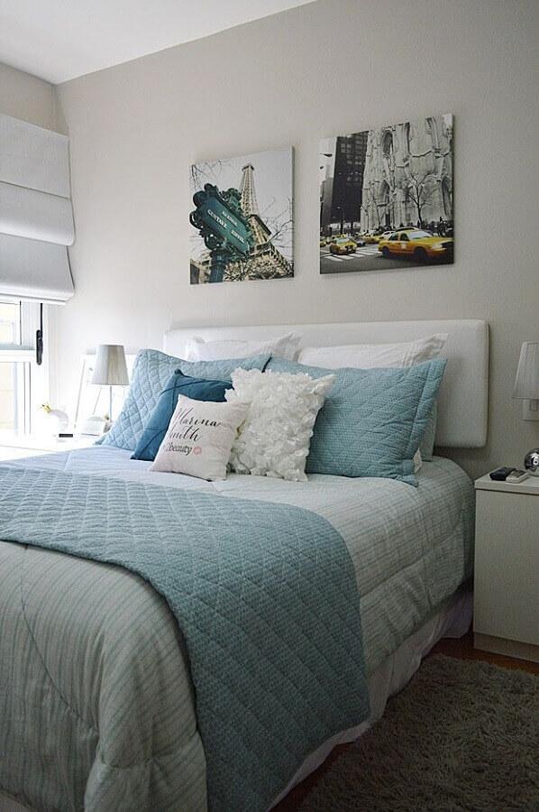 quadros decorativos para quarto branco e azul Foto Achados de decoração