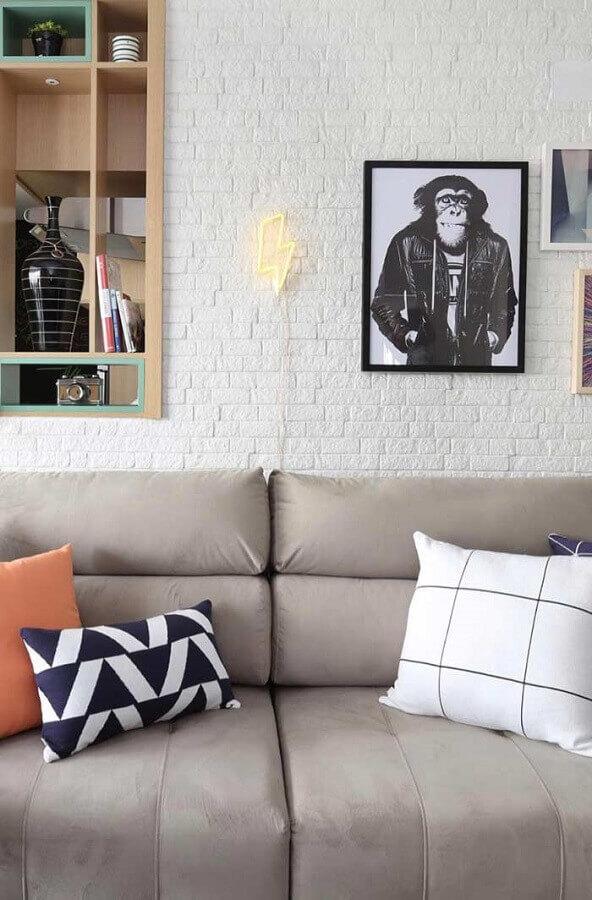 quadros decorativos para sala com parede de tijolinho branco Foto Wood Save