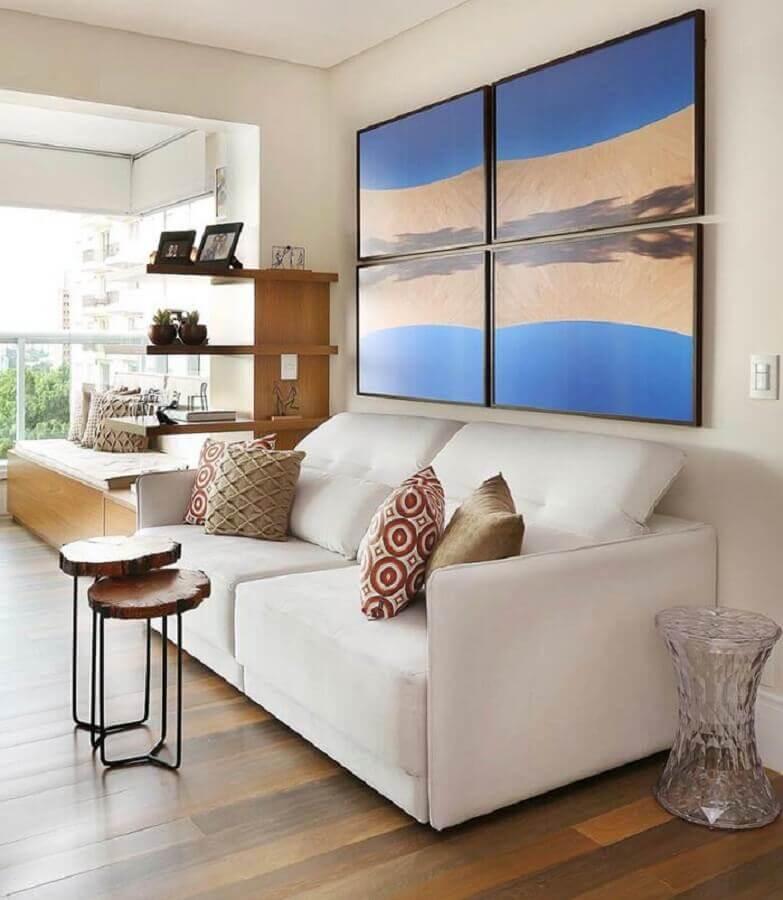 quadros decorativos para sala com sofá branco integrada com varanda Foto Pinterest