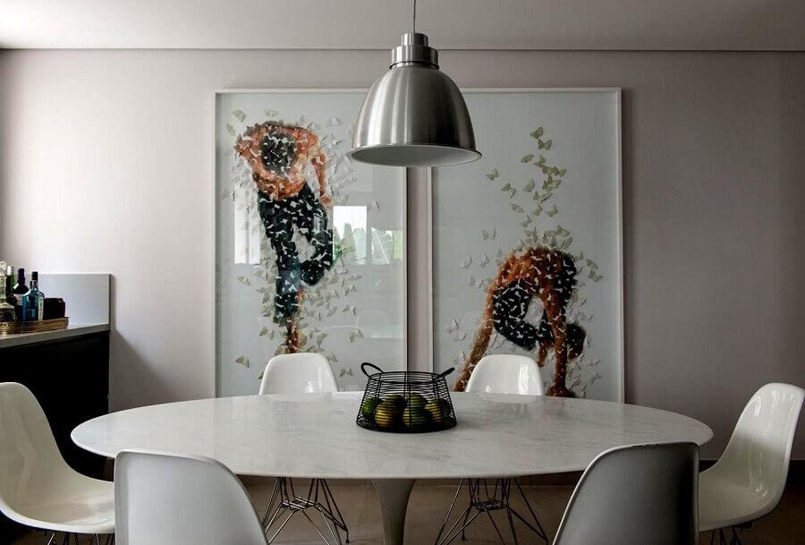 quadros decorativos para sala de jantar com mesa redonda e pendente metalizado Foto Detalhes do Céu
