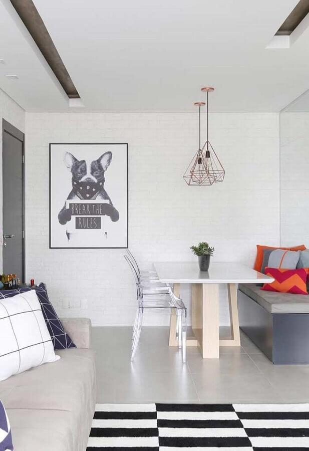 quadros decorativos para sala de jantar integrada com sala de estar Foto Pinterest