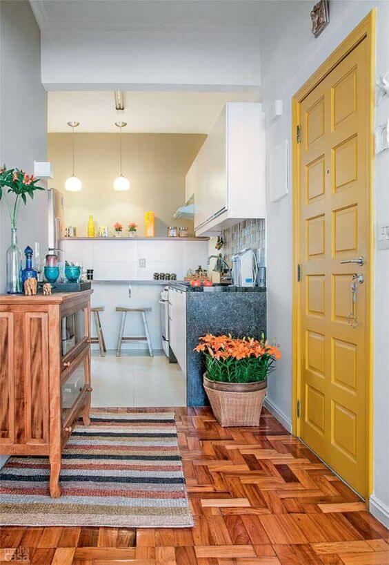 sinteco - sala de jantar com piso de taco