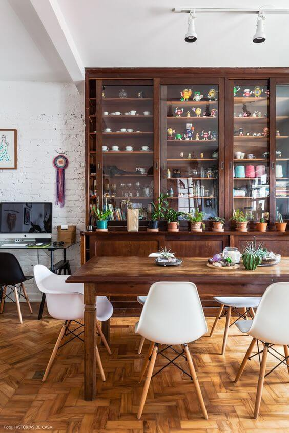 sinteco - sala de jantar com piso de taco m sinteco