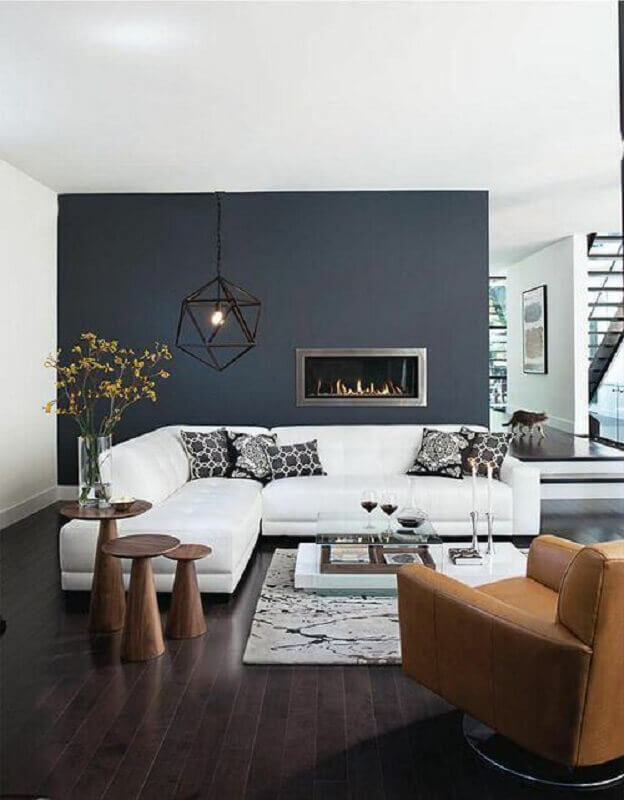 sofá de canto branco para decoração de sala moderna com lareira elétrica Foto Wall Design Ideias
