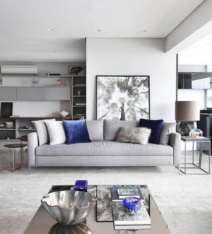 tapete cinza claro para sala ampla e moderna Foto Pinterest