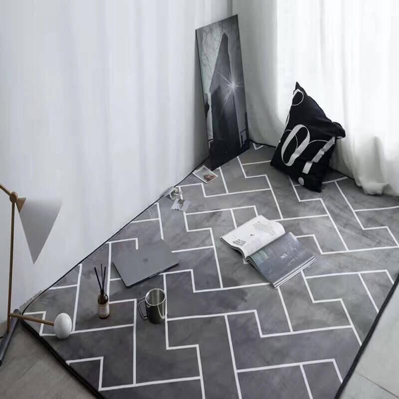 tapete geométrico cinza Foto AliExpress