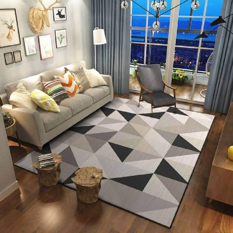 tapete geométrico cinza para sala Foto AliExpress
