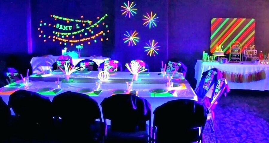 temas para aniversário de 18 anos - festa neon Foto Party Decoration ideas