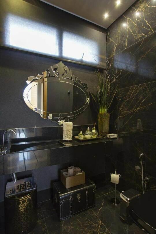 toalha de lavabo - bancada com cuba esculpida de mármore preto