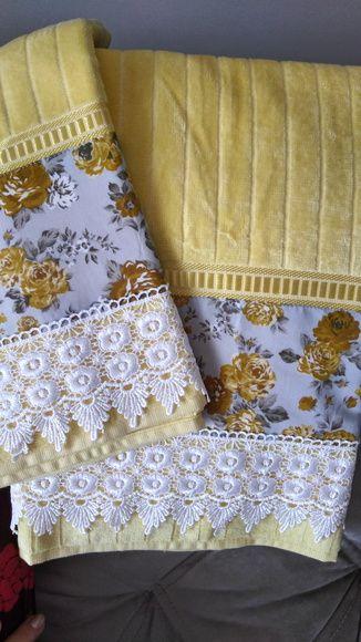 toalha de lavabo - conjunto de toalhas amarela com bordado