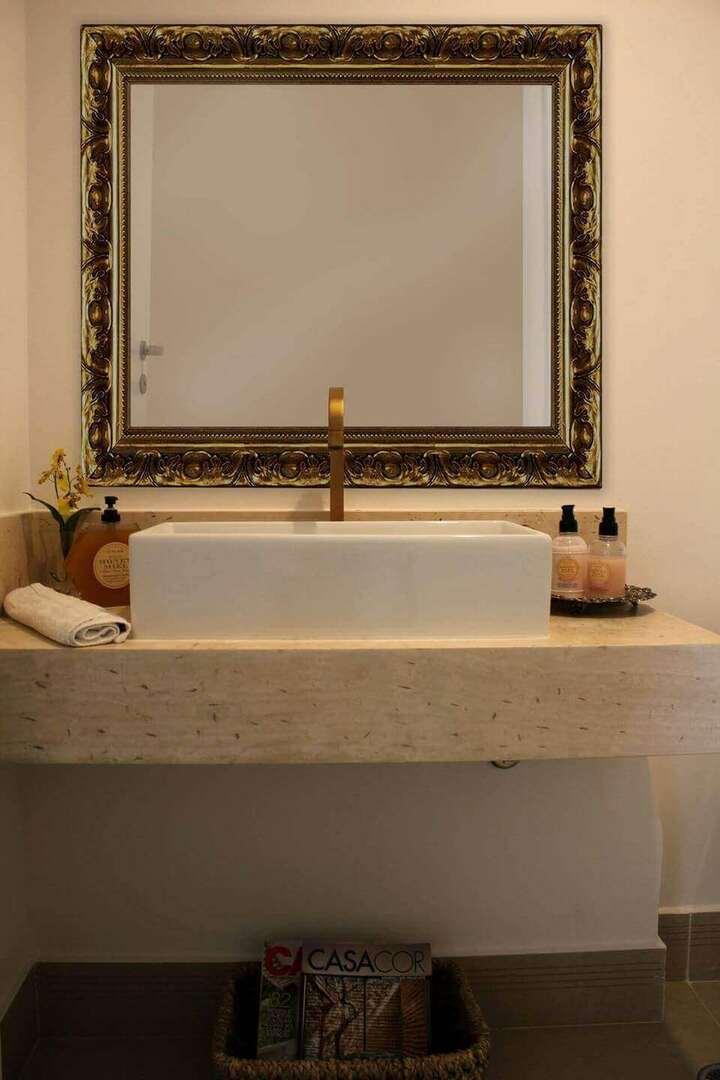 toalha de lavabo - lavabo com espelho clássico