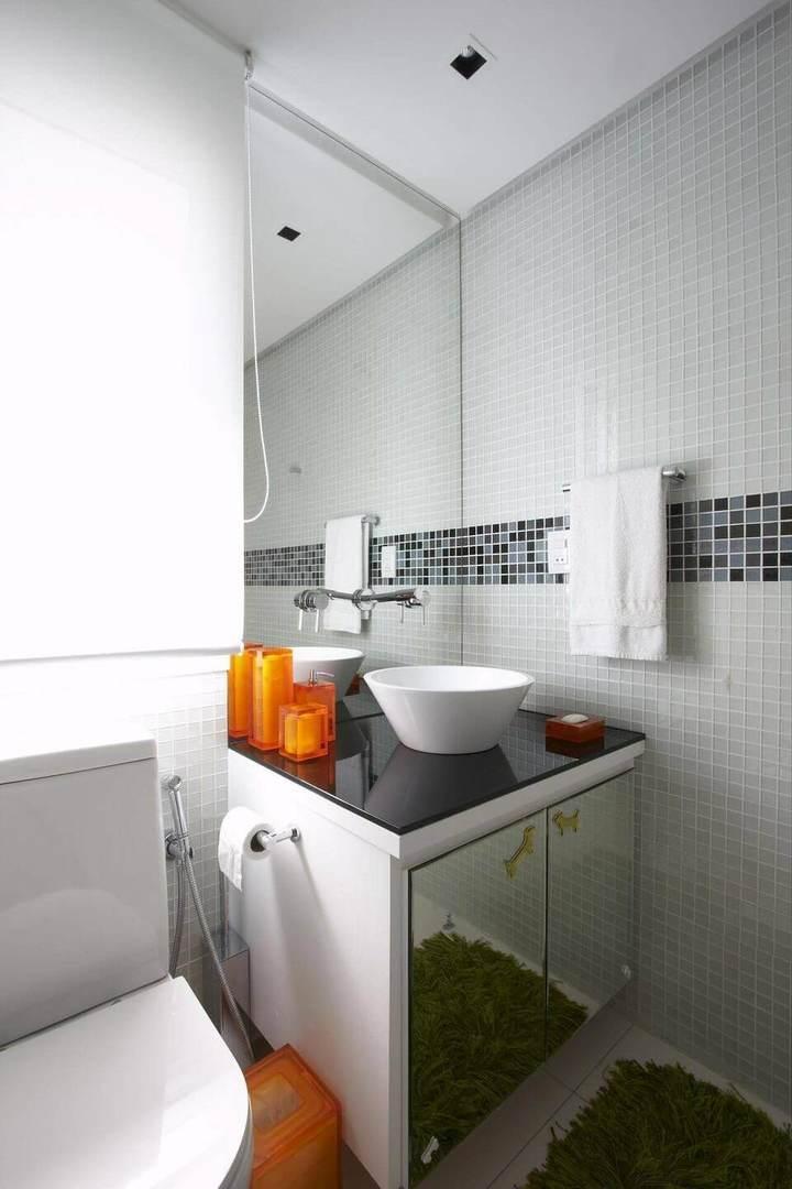 toalha de lavabo - lavabo com pastilhas brancas