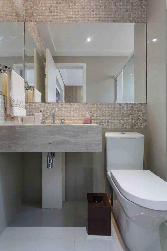 toalha de lavabo - lavabo pequeno com espelho