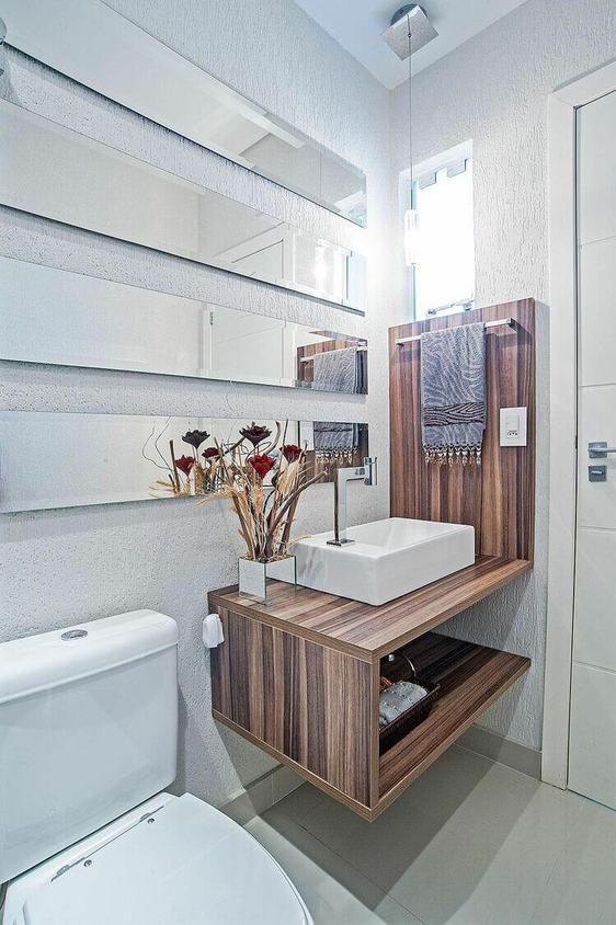 toalha de lavabo - pia quadrada branca de madeira