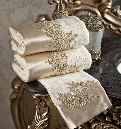 toalha de lavabo - tolhas clássicas branco e dourada - Wallpaper HD