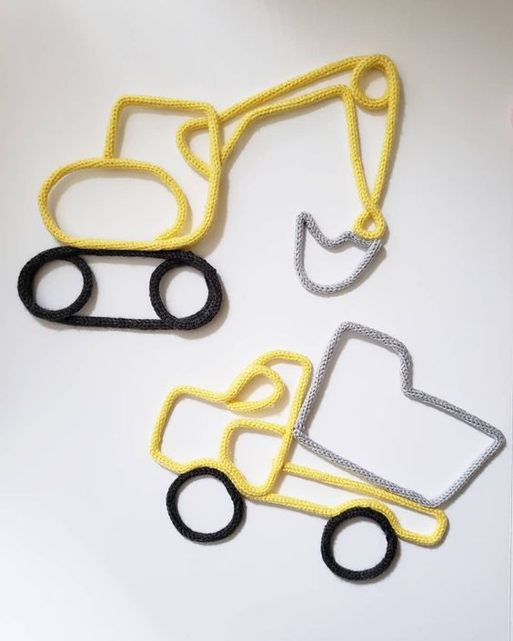tricotin - caminhão e trator em tricotin