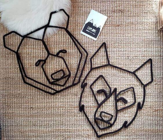tricotin - urso e lobo feito em tricotin