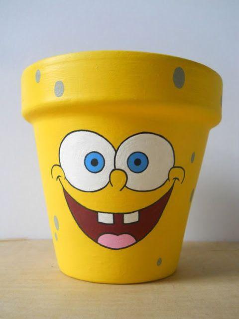 vaso de barro - vaso com desenho de Bob Esponja
