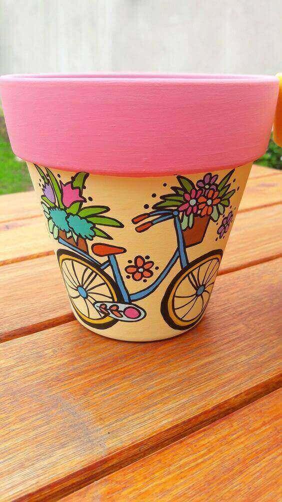 vaso de barro - vaso com desenho de bicicleta