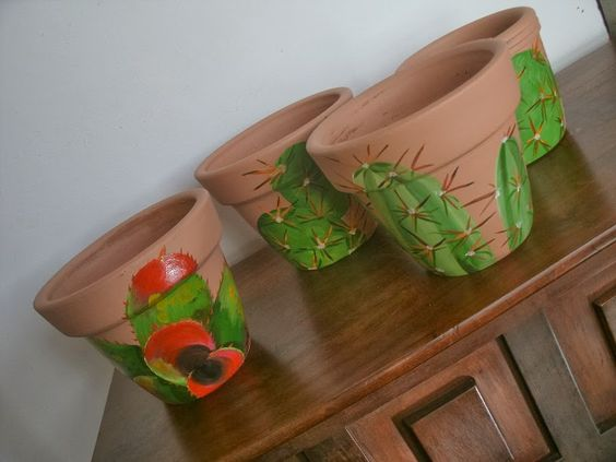 vaso de barro - vaso com desenho de cactos