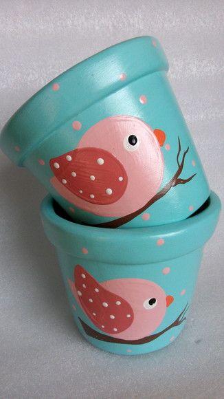 vaso de barro - vaso com desenho de pássaro