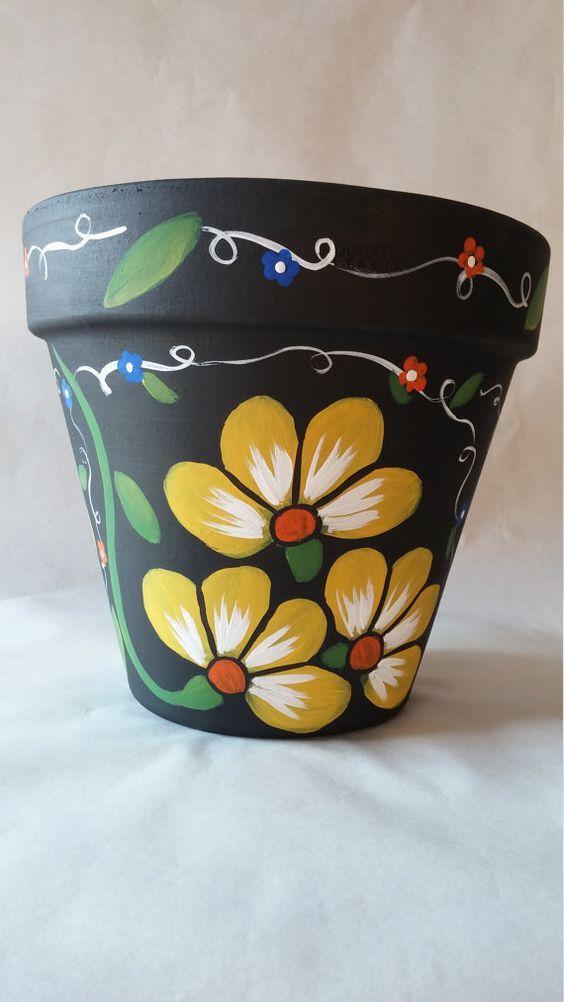 vaso de barro - vaso preto com desenhos de flores
