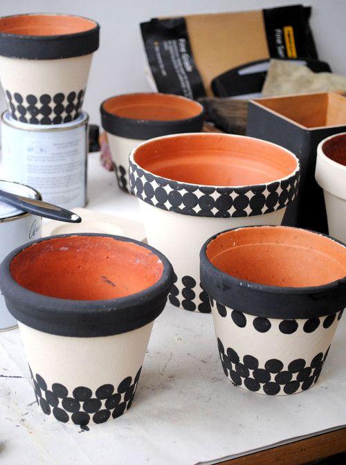 vaso de barro - vasos com bolinhas pretas