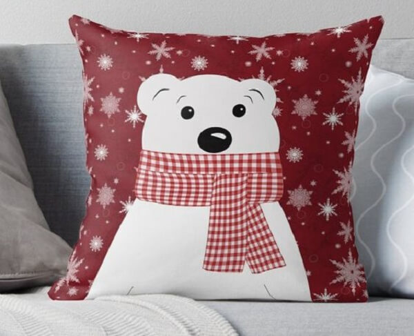 Almofada de Natal super fofa de urso polar