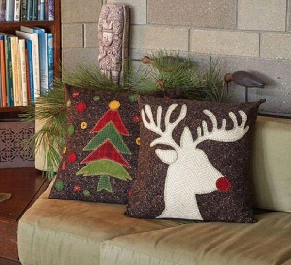 Almofada de Natal com estampas mescladas