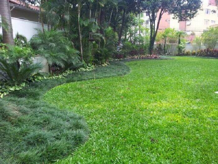 A grama preta foi utilizada para o acabamento do jardim