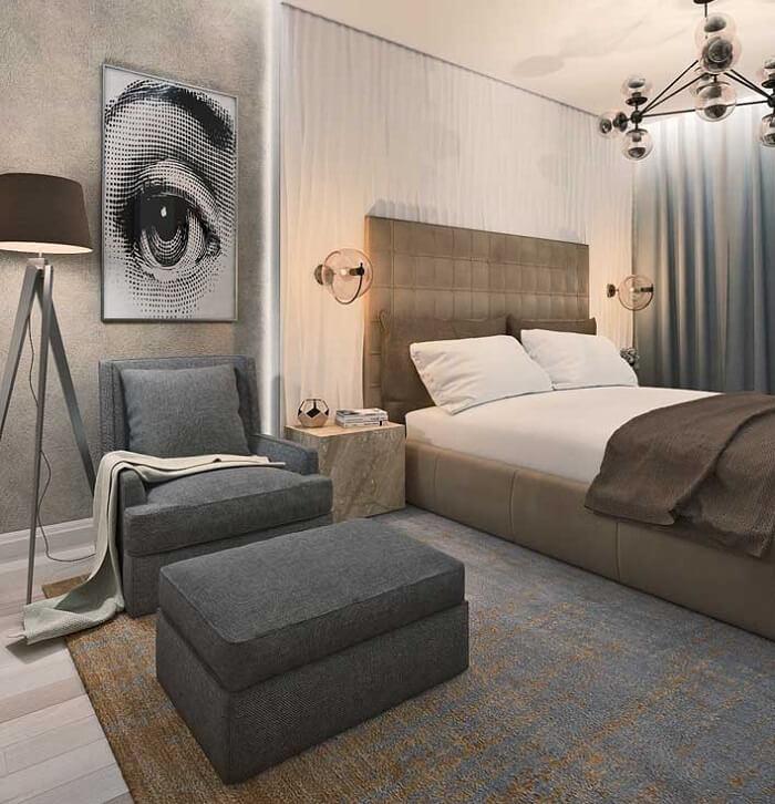 A parede da cama recebeu revestimento feito com placa de gesso 3D