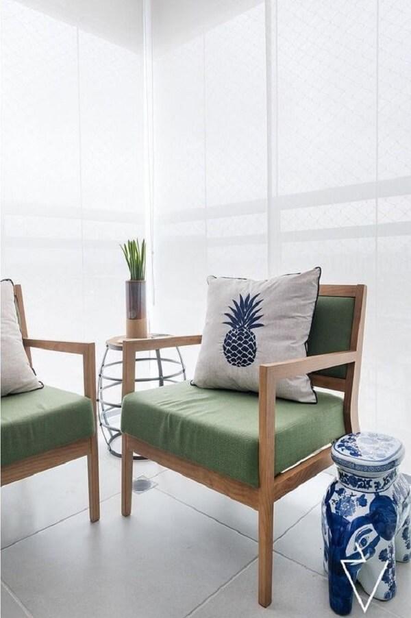 Almofadas para cadeiras de jardim em tom verde