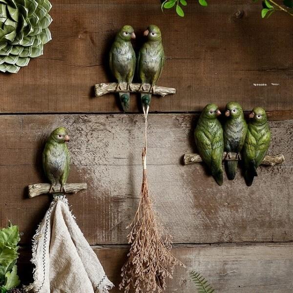 Conjunto de ganchos de parede em formato de pássaro