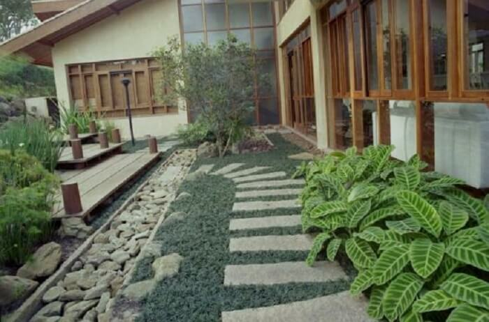 Caminho lateral da casa feito com pedras e grama preta