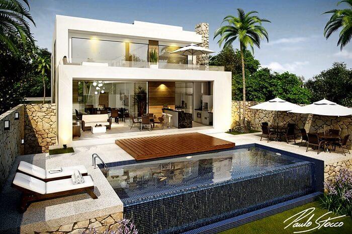 Casas com piscinas com borda infinita