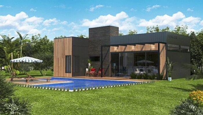 Casas com piscinas em L feitas de pastilha azul