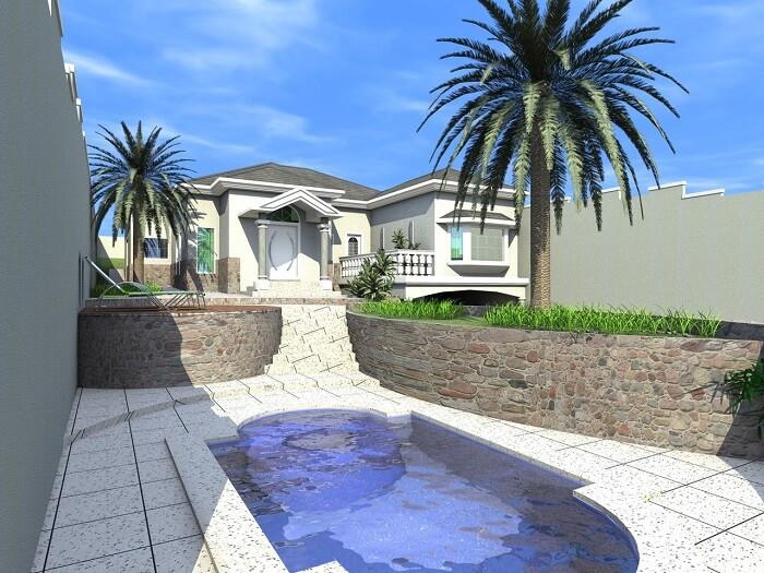 Casas com piscinas na entrada