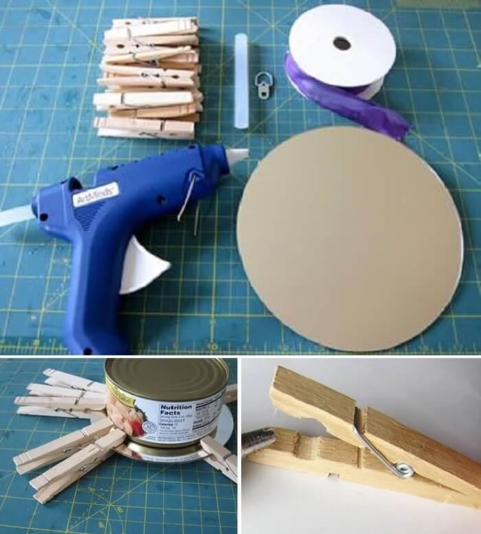 Como fazer moldura para espelho com pregadores de madeira
