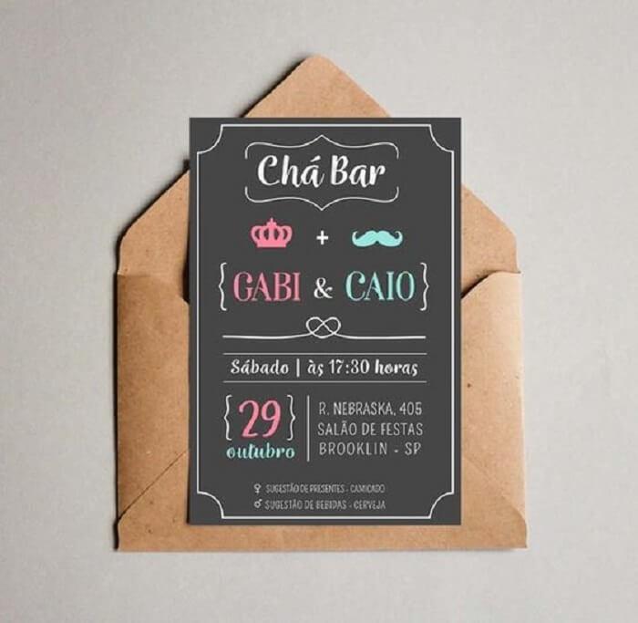 Convite com design simples e delicado para festa Chá Bar